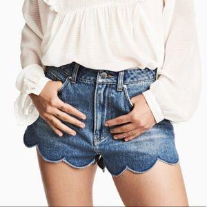 Scallop denim shorts